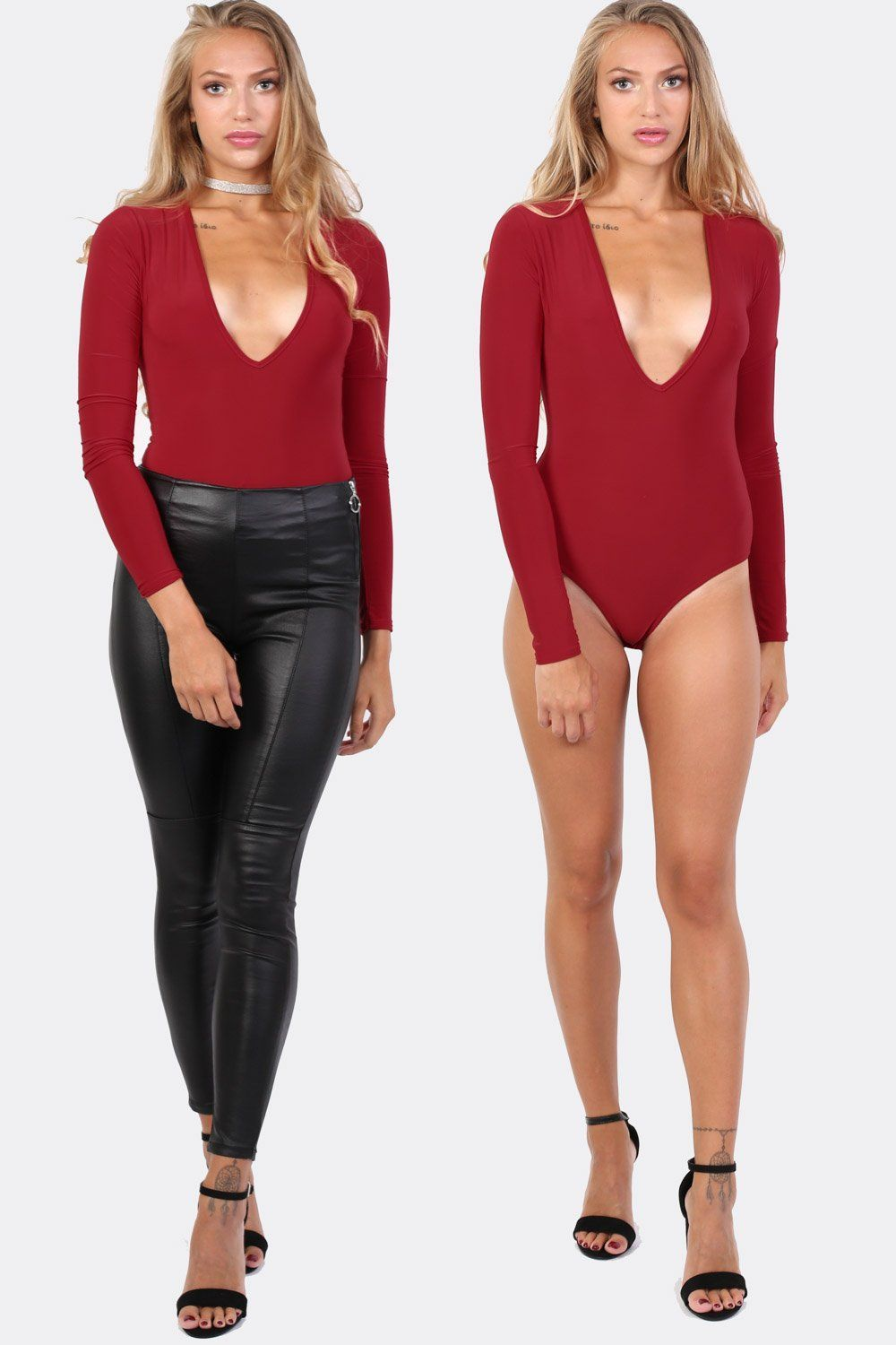 Slinky Plunge V Neck Long Sleeve Bodysuit in Red 0