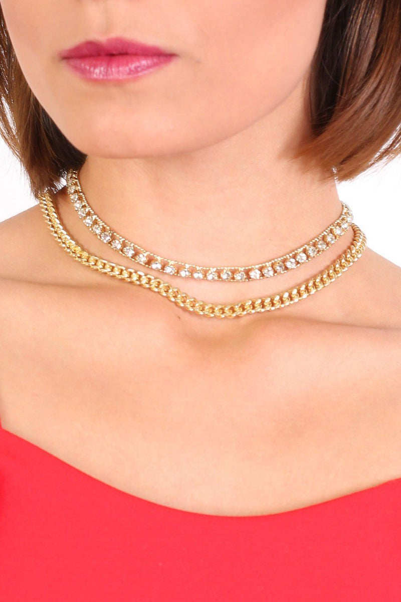 Gold Effect Twin Chain Choker Necklace in Gold 0