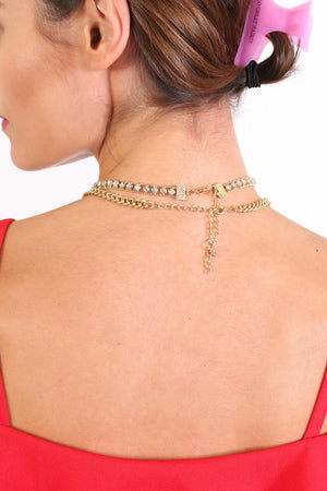 Gold Effect Twin Chain Choker Necklace in Gold 1