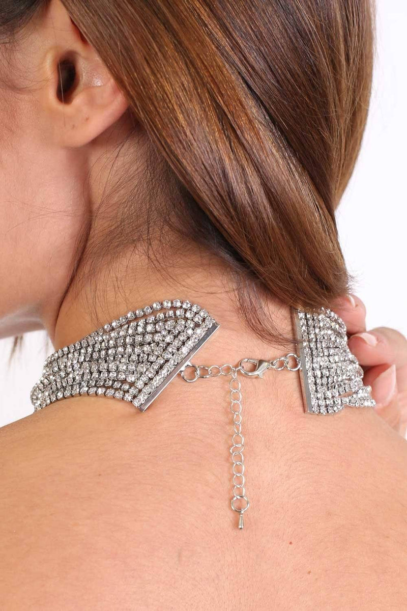Layered Diamante Choker Necklace in Silver 1