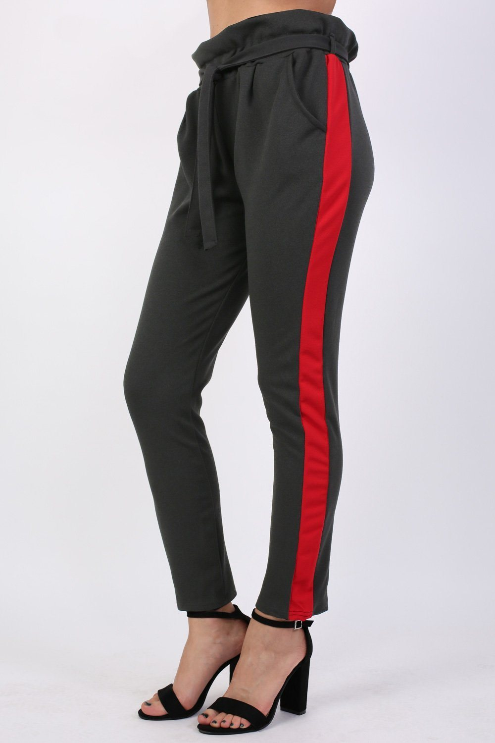 Side Stripe Paperbag Waist Trousers in Black 0