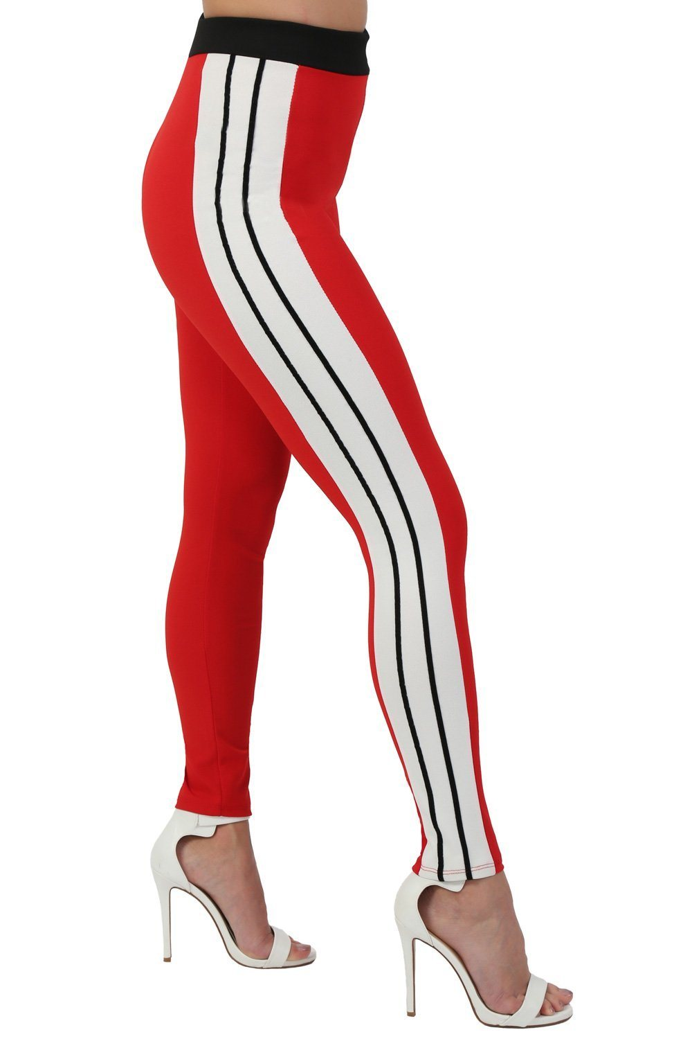 Stripe Detail Slim Leg Jogger Bottoms in Red 0
