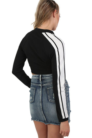 Long Sleeve Stripe Detail Zip Front Jogger Top in Black 2