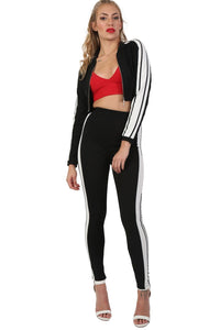 Long Sleeve Stripe Detail Zip Front Jogger Top in Black 3
