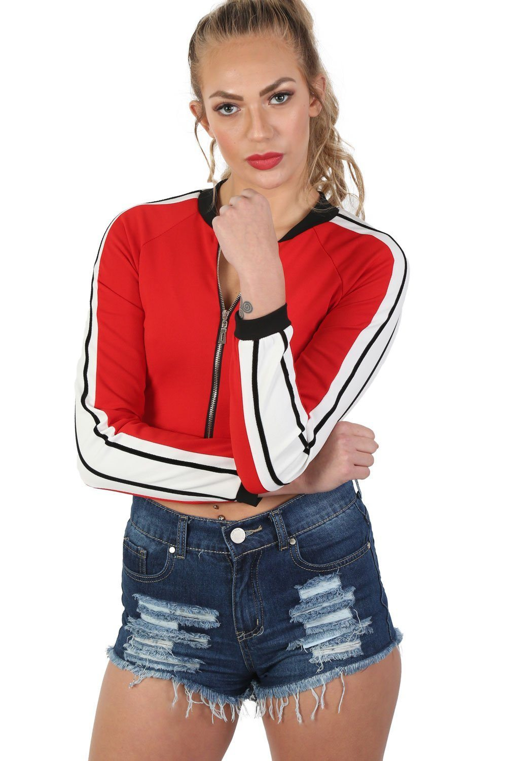 Long Sleeve Stripe Detail Zip Front Jogger Top in Red 0