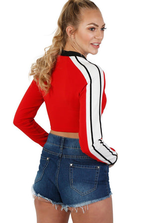 Long Sleeve Stripe Detail Zip Front Jogger Top in Red 2