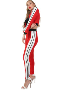 Long Sleeve Stripe Detail Zip Front Jogger Top in Red 3
