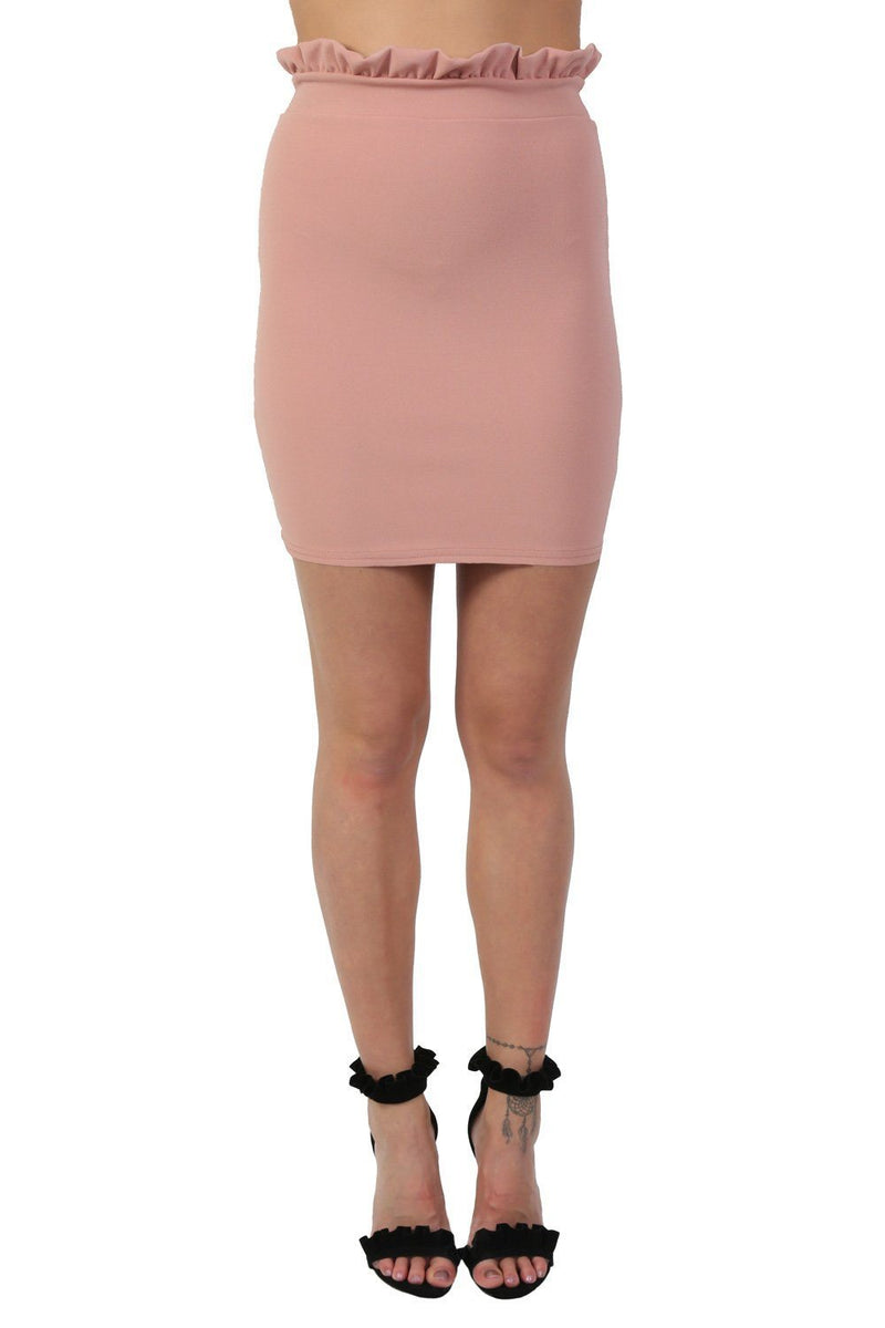 Plain Frill Detail Waist Mini Skirt in Rose Pink 0
