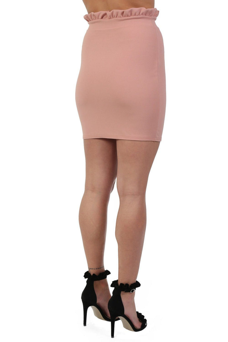 Plain Frill Detail Waist Mini Skirt in Rose Pink 1