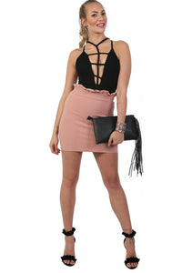 Plain Frill Detail Waist Mini Skirt in Rose Pink 3