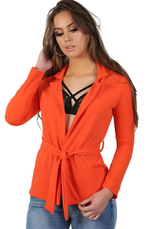 Plain Long Sleeve Wrap Belted Blazer in Bright Orange 0