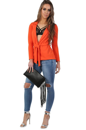 Plain Long Sleeve Wrap Belted Blazer in Bright Orange 2