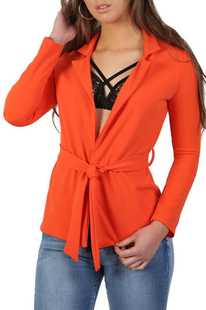 Plain Long Sleeve Wrap Belted Blazer in Bright Orange 3
