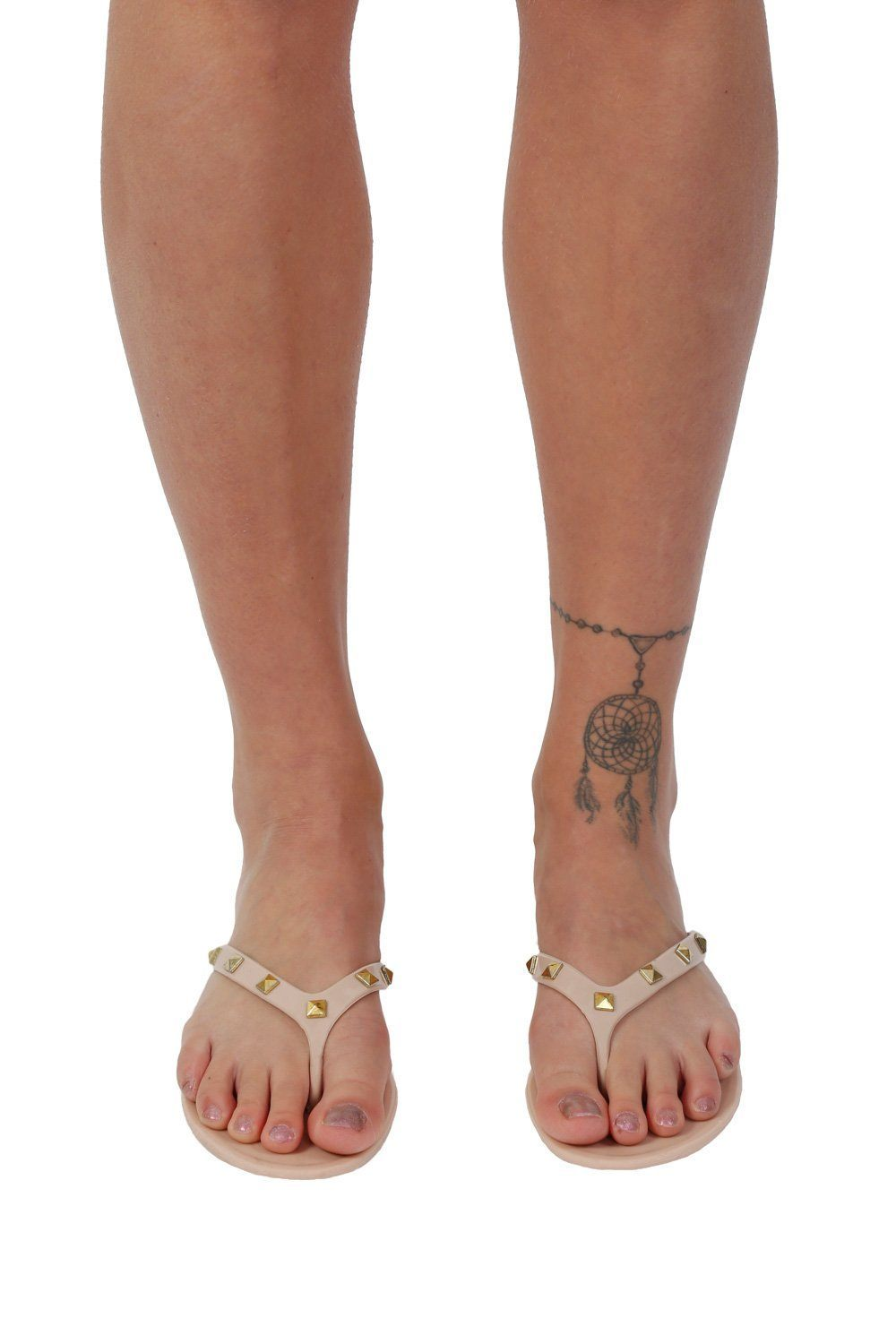 Flat Stud Detail Jelly Sandals in Nude 0
