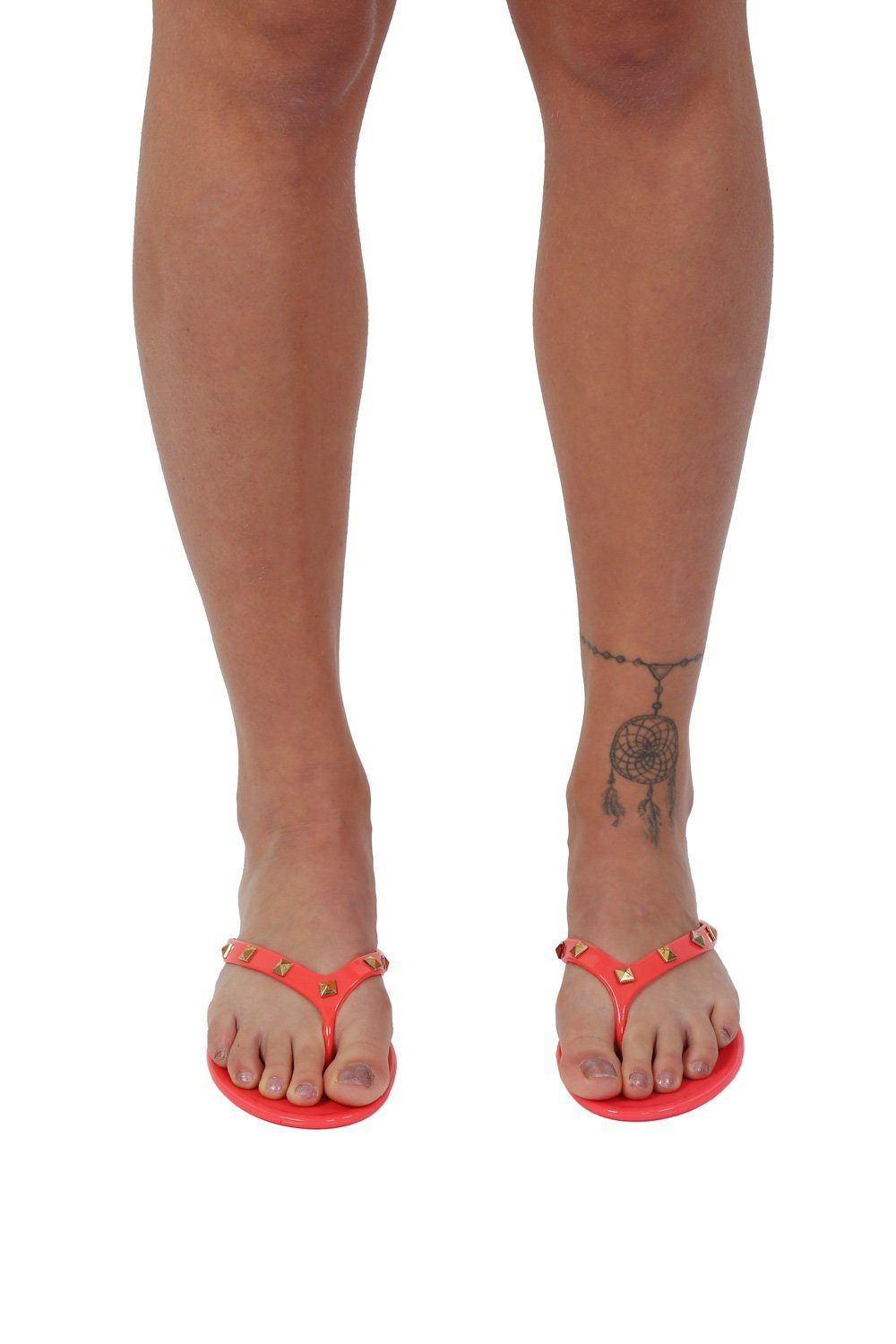 Flat Stud Detail Jelly Sandals in Coral 0