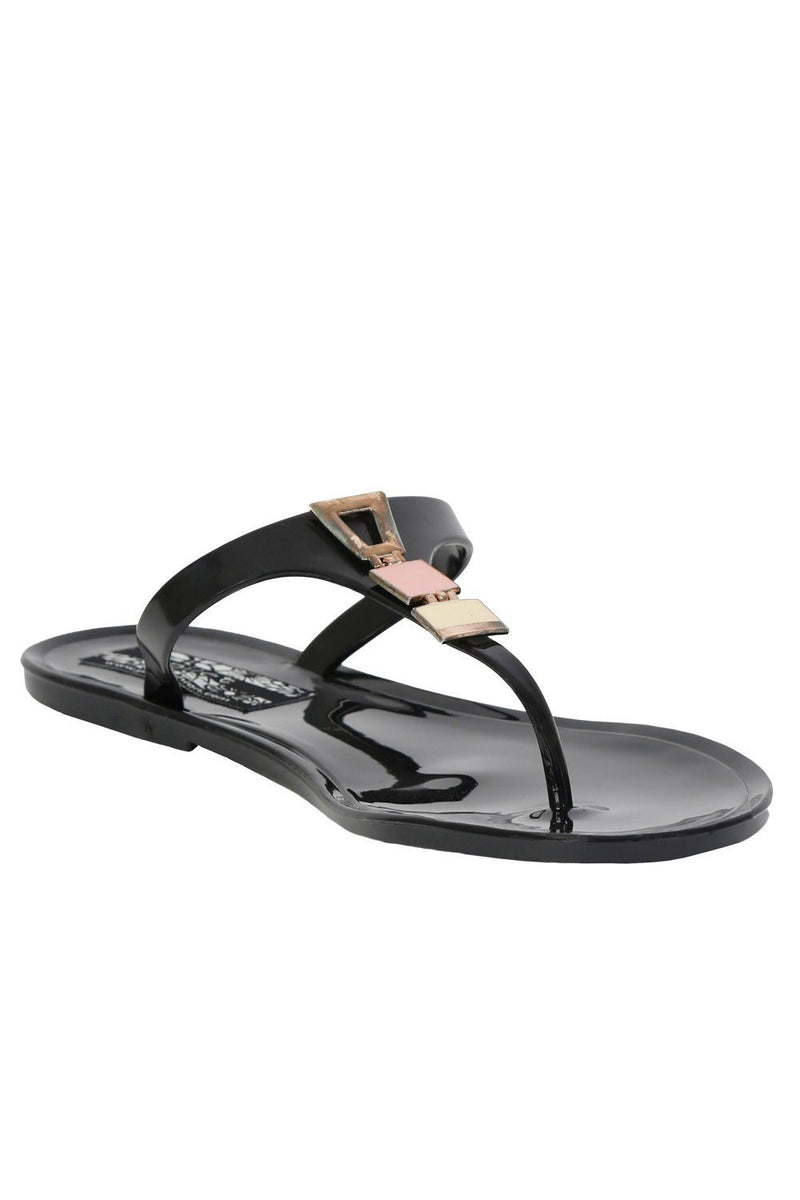Flat Inca Detail Toe Post Jelly Sandals in Black 3