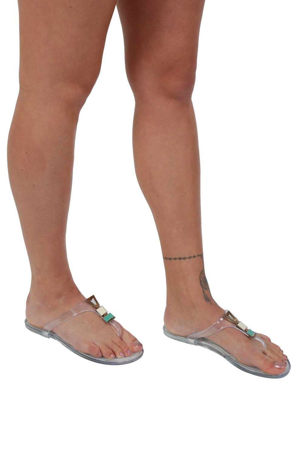 Flat Inca Detail Toe Post Jelly Sandals in Transparent 0