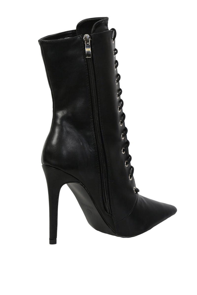 Pointed Toe Lace Up Detail High Heel Ankle Boots in Black 4