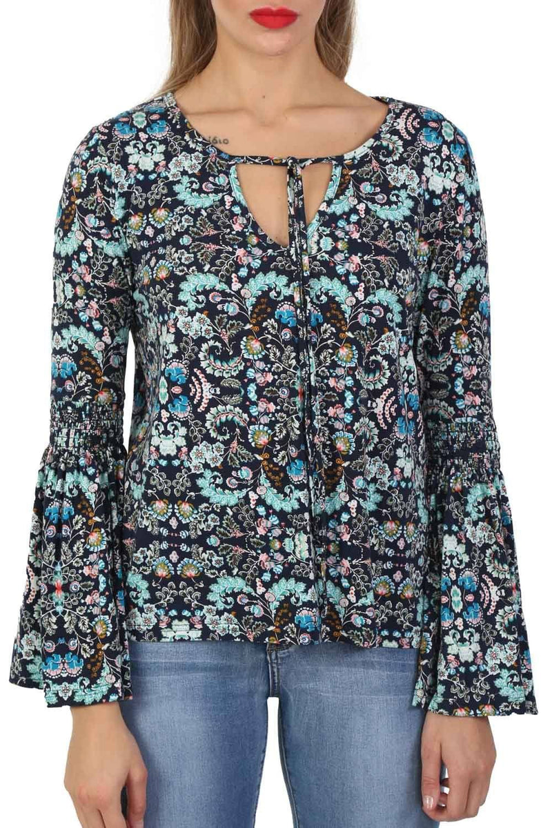 Oriental Floral Print Bell Sleeve Tie Detail Top in Navy Blue 2