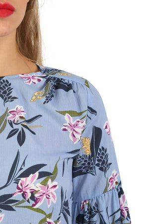 Floral Print Balloon Sleeve Top in Blue 5