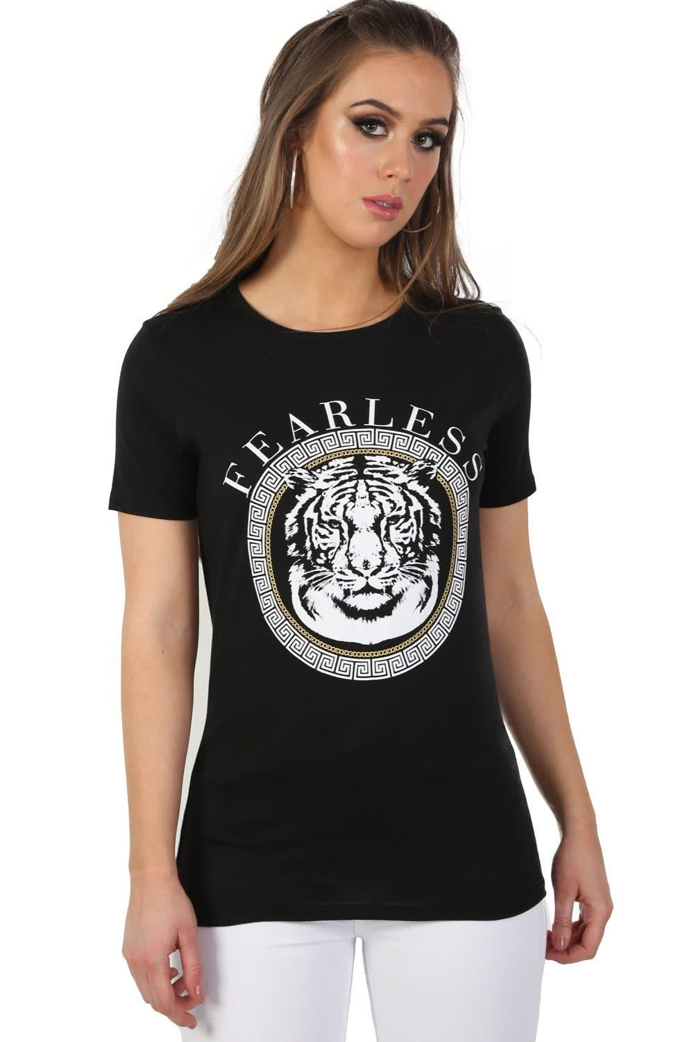 Fearless Slogan Print Tiger Motif Short Sleeve T-Shirt in Black 0