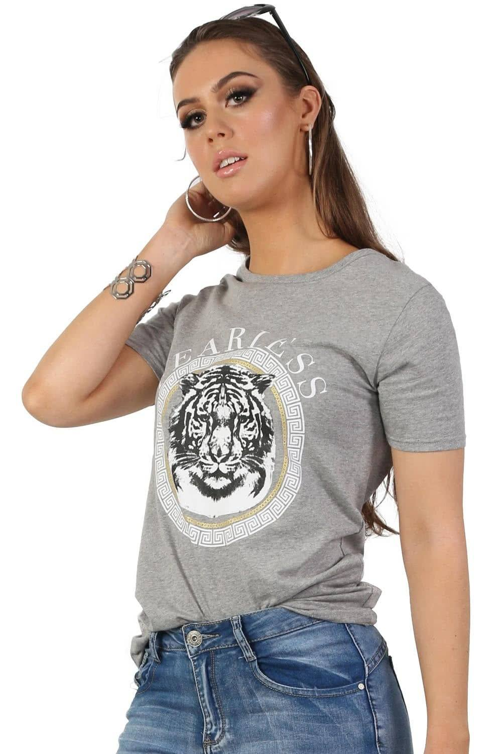 Fearless Slogan Print Tiger Motif Short Sleeve T-Shirt in Grey 0
