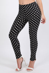 Polka Dot Design Leggings in Black 0