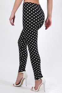 Polka Dot Design Leggings in Black 1