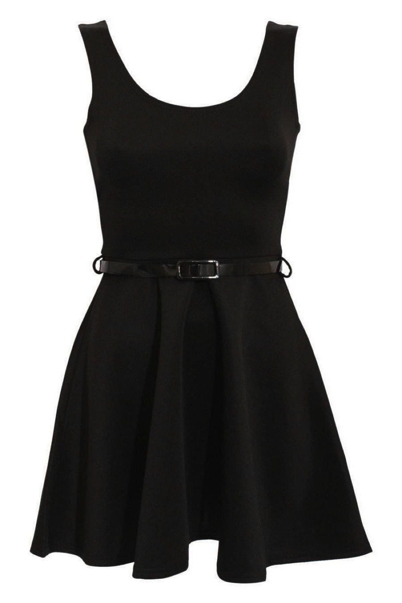 Sleeveless Belted Skater Dress in Black 2
