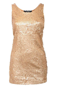 Sleeveless Sequin Front Short Tunic Dress in Gold 2