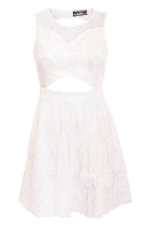 Lace Cut Out Front Skater Dress in White 2