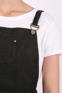 Faux Suede Dungaree Dress in Black 1
