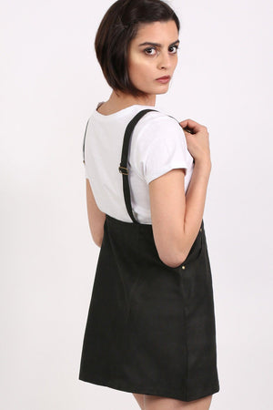Faux Suede Dungaree Dress in Black 2