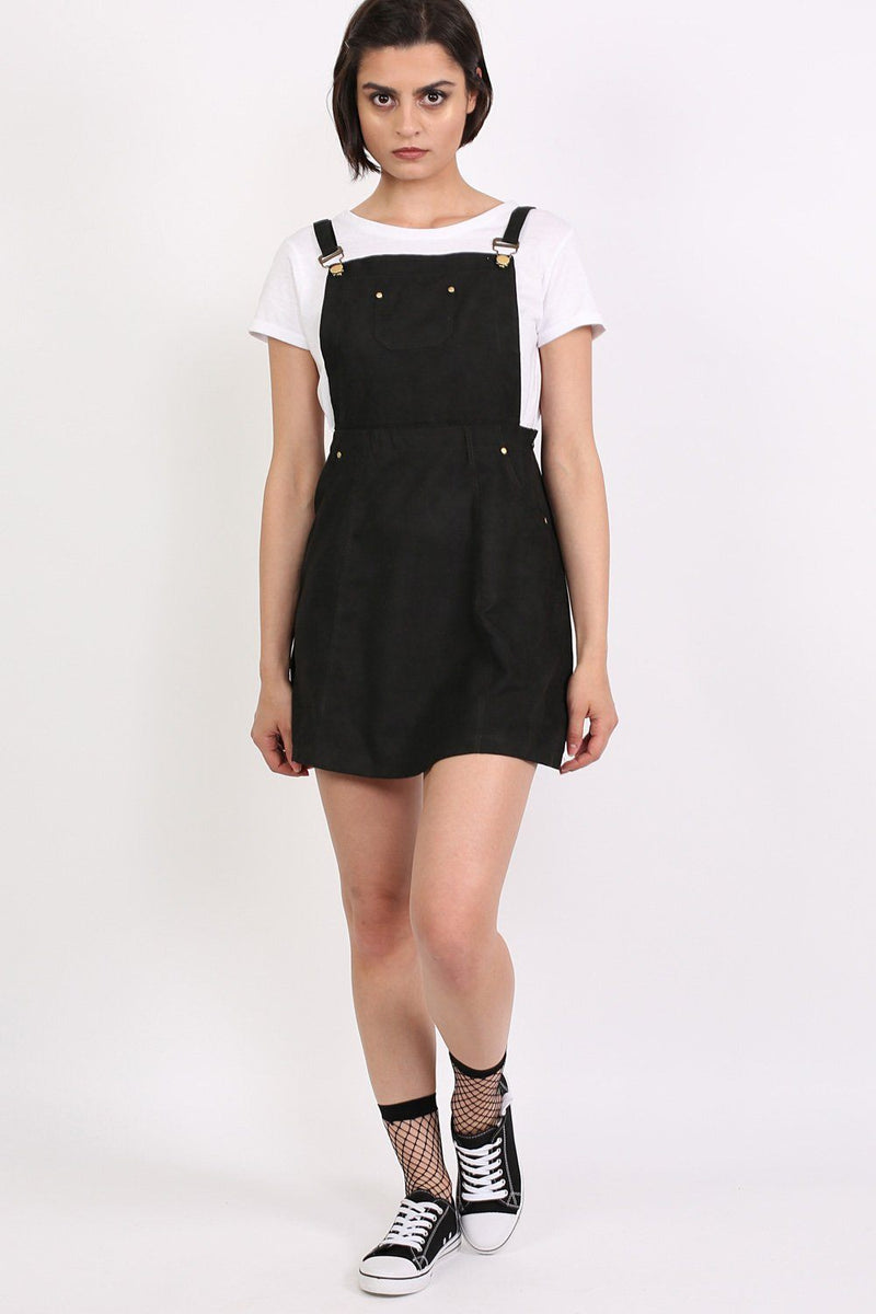 Faux Suede Dungaree Dress in Black 3