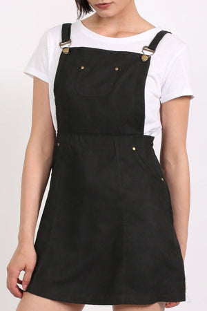 Faux Suede Dungaree Dress in Black 4