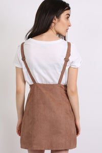 Faux Suede Dungaree Dress in Tan Brown 1