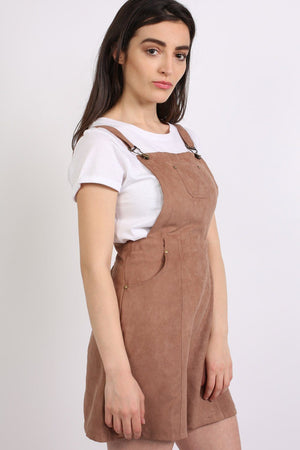 Faux Suede Dungaree Dress in Tan Brown 2