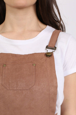 Faux Suede Dungaree Dress in Tan Brown 3