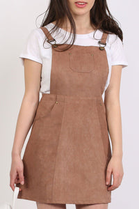 Faux Suede Dungaree Dress in Tan Brown 4
