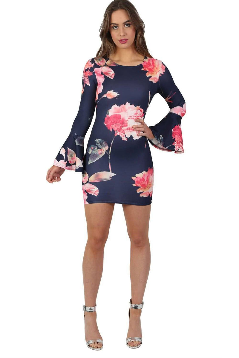 Floral Bell Sleeved Bodycon Mini Dress in Navy Blue 3