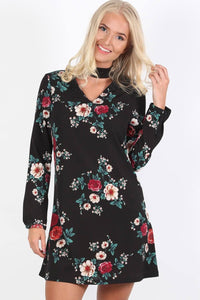 Floral Print Long Sleeve Choker Neck Shift Mini Dress in Black 0