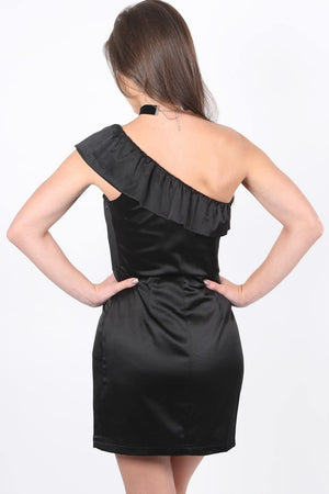 Frill One Shoulder Mini Dress in Black 1