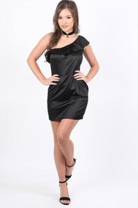 Frill One Shoulder Mini Dress in Black 2
