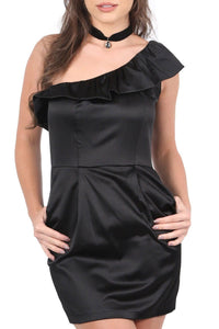 Frill One Shoulder Mini Dress in Black 3