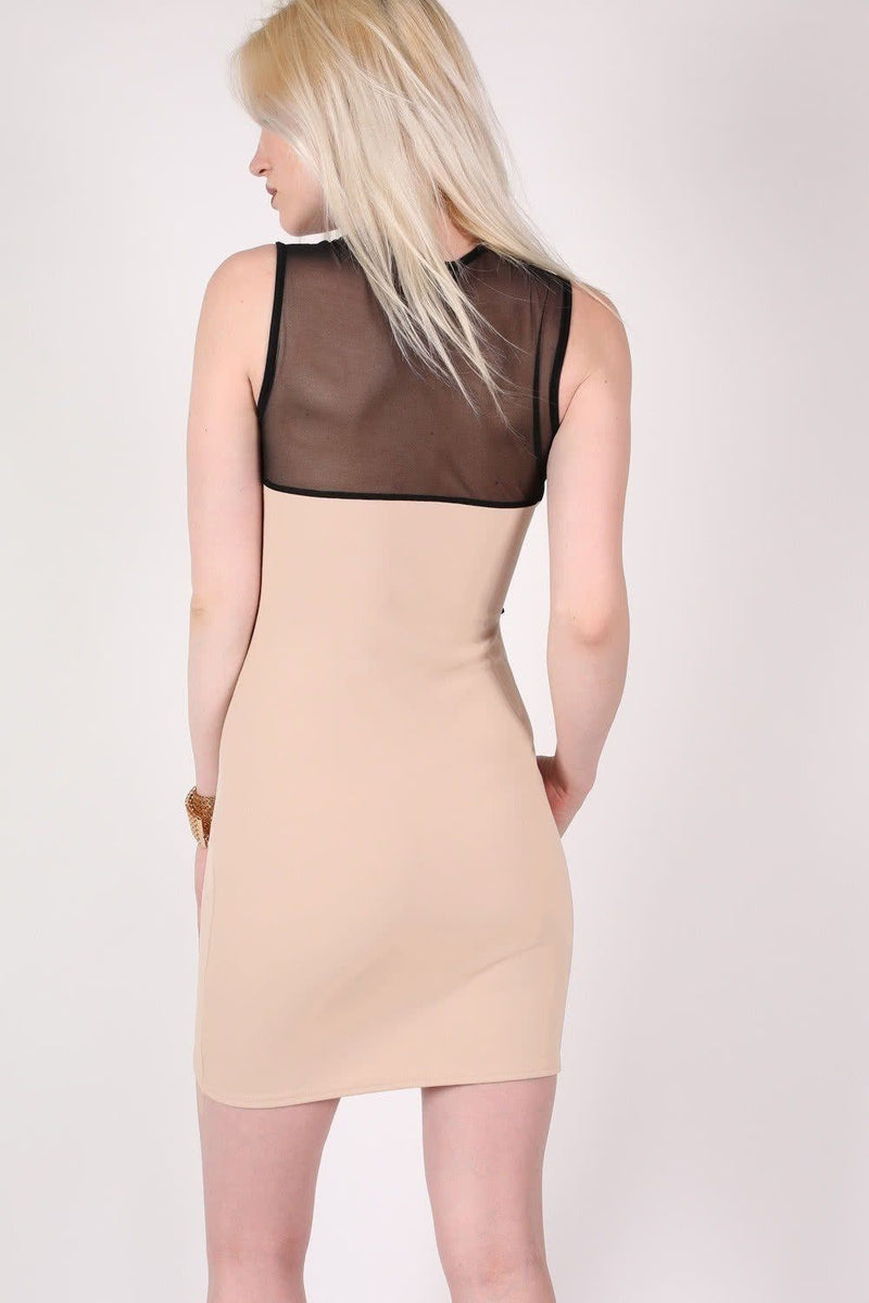 Lace And Mesh Trim Sleeveless Bodycon Dress in Stone 3
