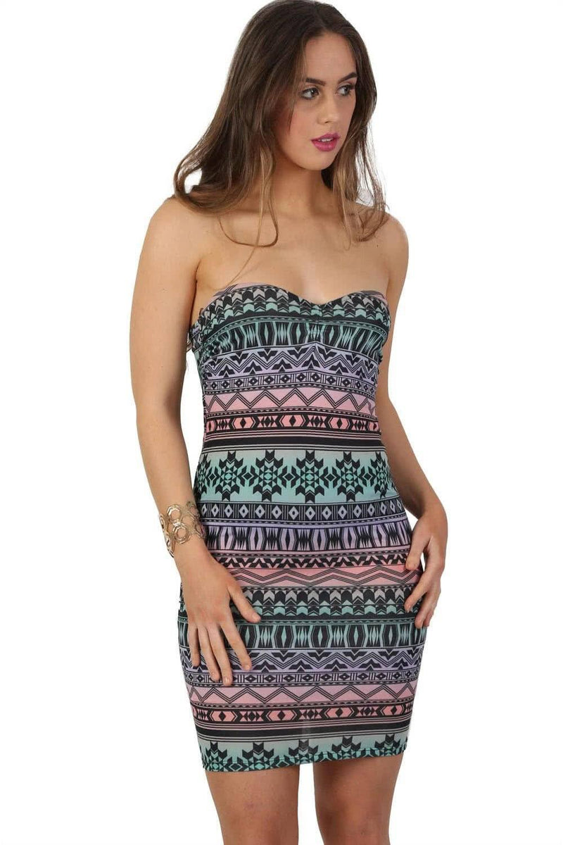 Multi-Colour Aztec Print Bandeau Mini Dress in Aqua Green 0