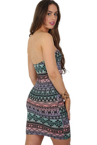 Multi-Colour Aztec Print Bandeau Mini Dress in Aqua Green 1