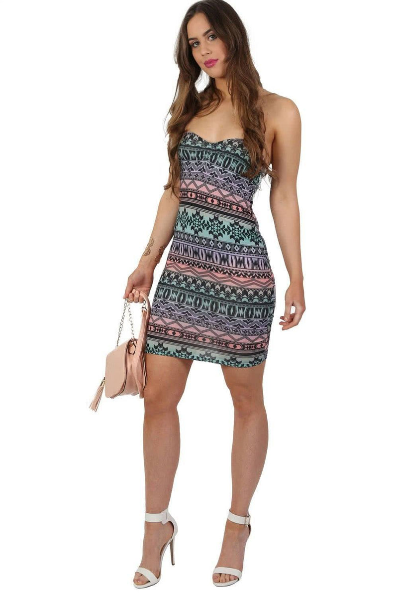 Multi-Colour Aztec Print Bandeau Mini Dress in Aqua Green 2