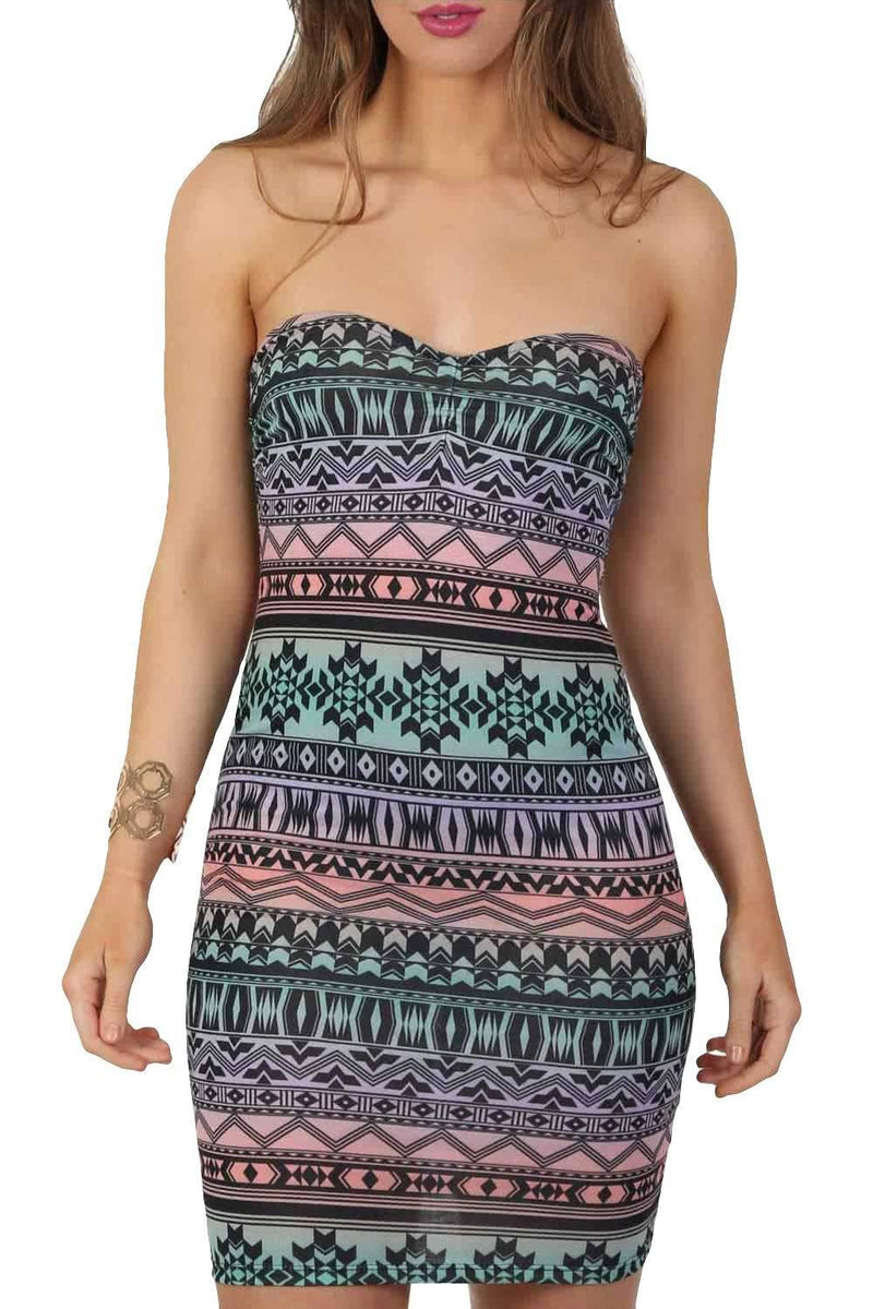 Multi-Colour Aztec Print Bandeau Mini Dress in Aqua Green 3