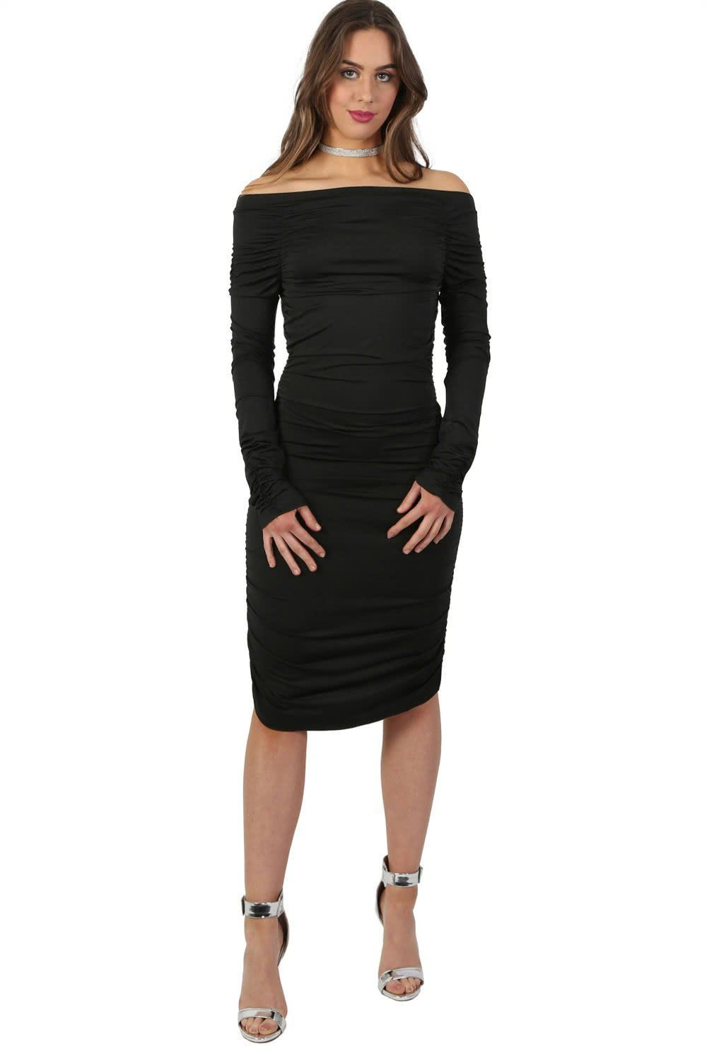 Off Shoulder Ruched Long Sleeve Bodycon Dress in Black 0